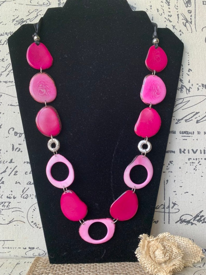 Long Pink Beaded Necklace Made of Tagua