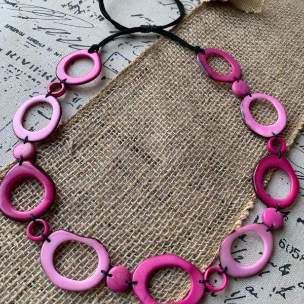 Pink Donut Shape Beads Tagua Nut Necklace