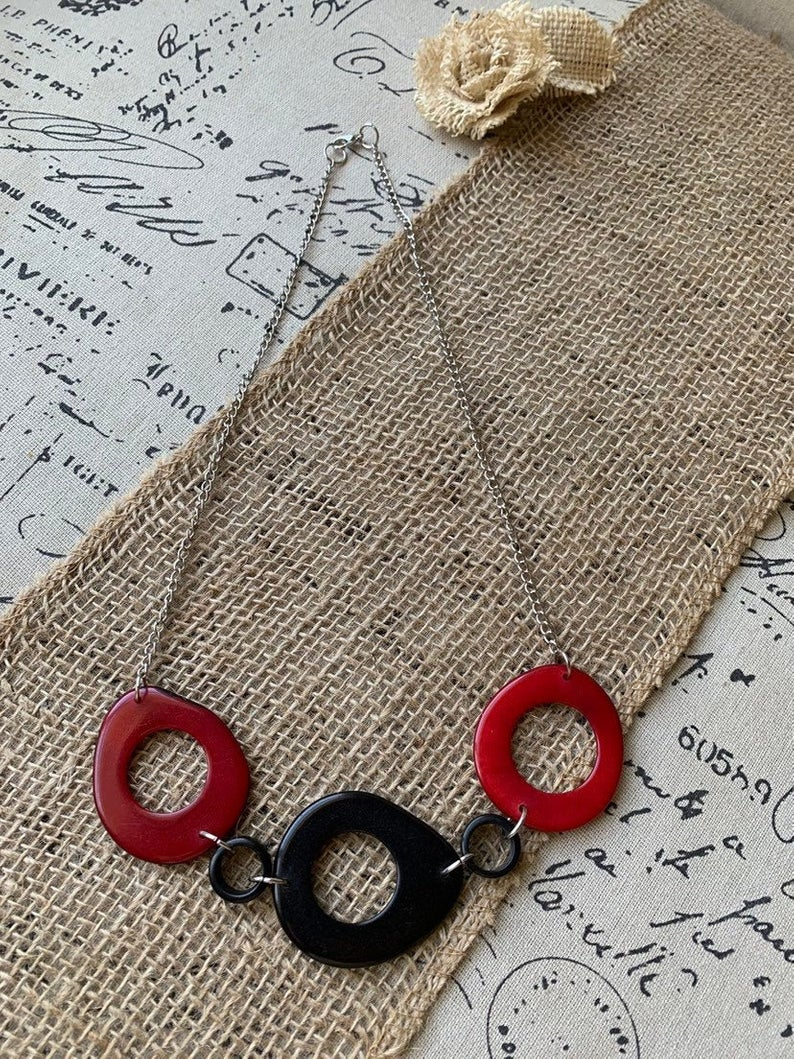 Red and Black Tagua Necklace with Silver Chain