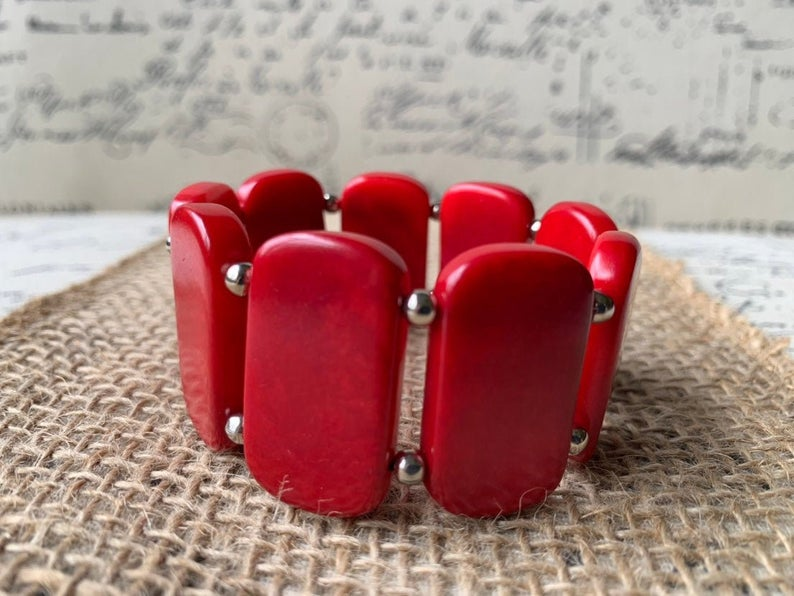 Red Handmade Bracelet Made of Tagua