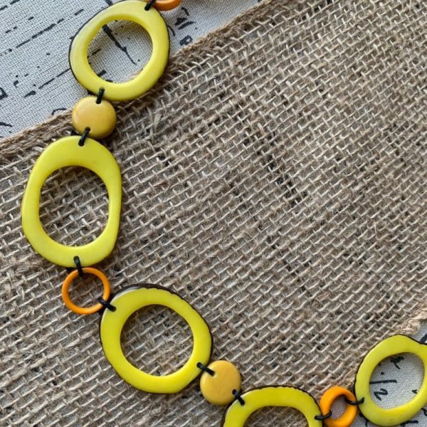 Yellow Donut Shape Tagua Necklace