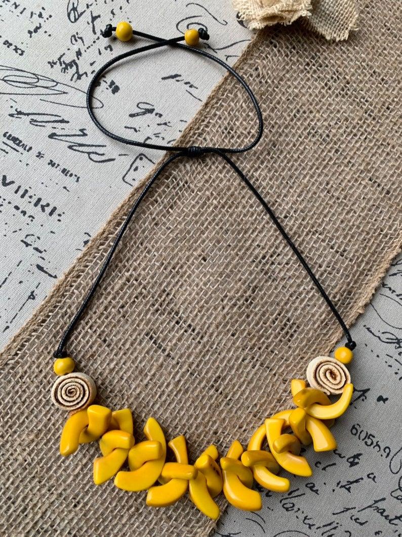 Yellow orange peel flower necklace