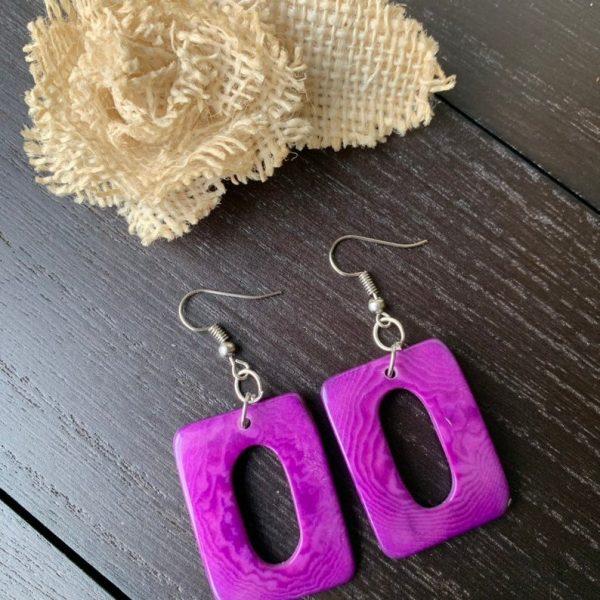 Purple Geometric Tagua nut Dangle and drop earrings