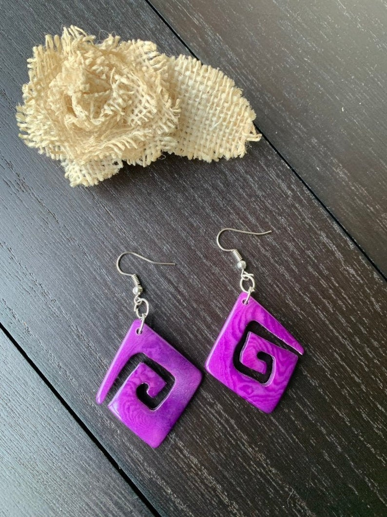 Purple Laser Cut Tagua Nut Earrings