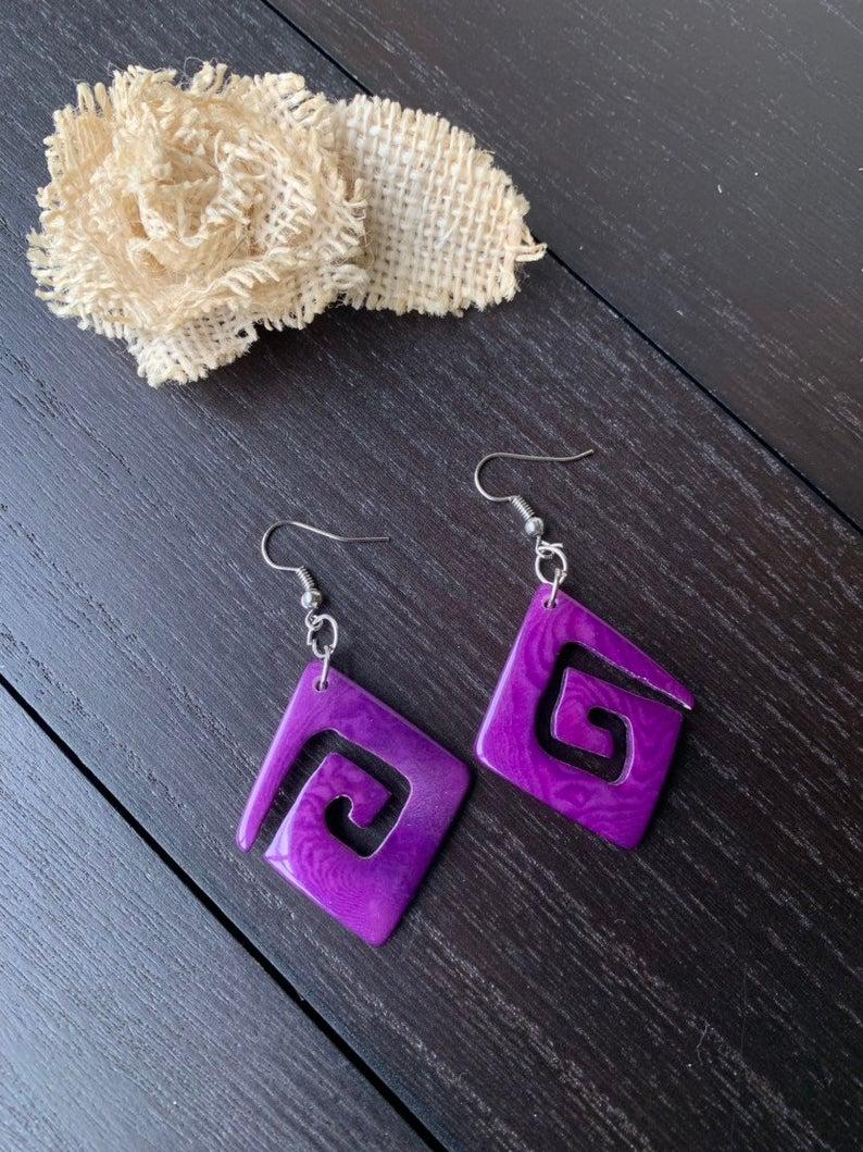 Purple Laser Cut Tagua Nut Earrings