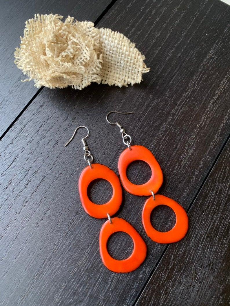 Long Dangle Orange Earrings made of Tagua