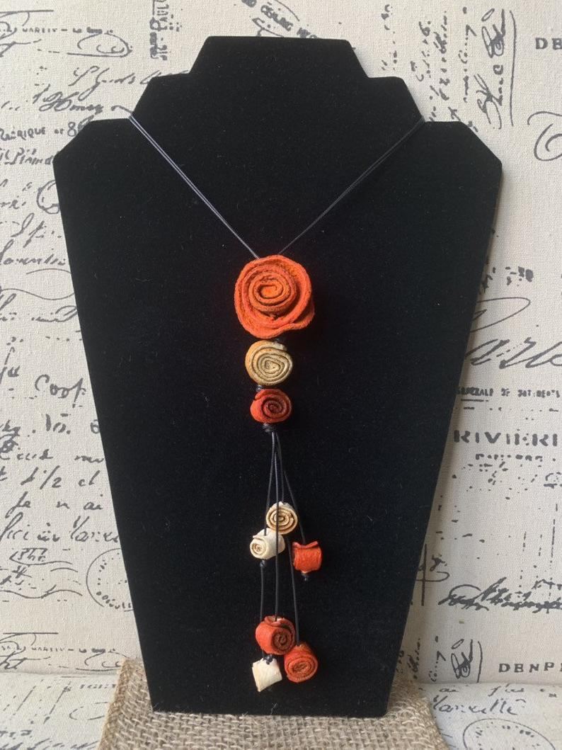 Orange rose pendant necklace