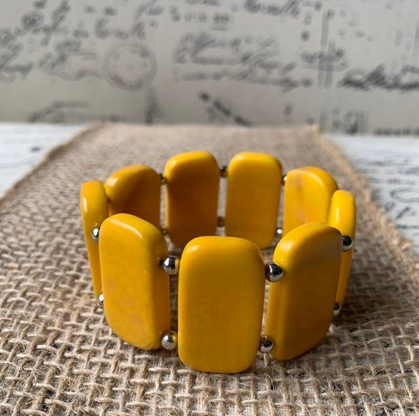 Yellow Geometric Tagua Nut Bracelet