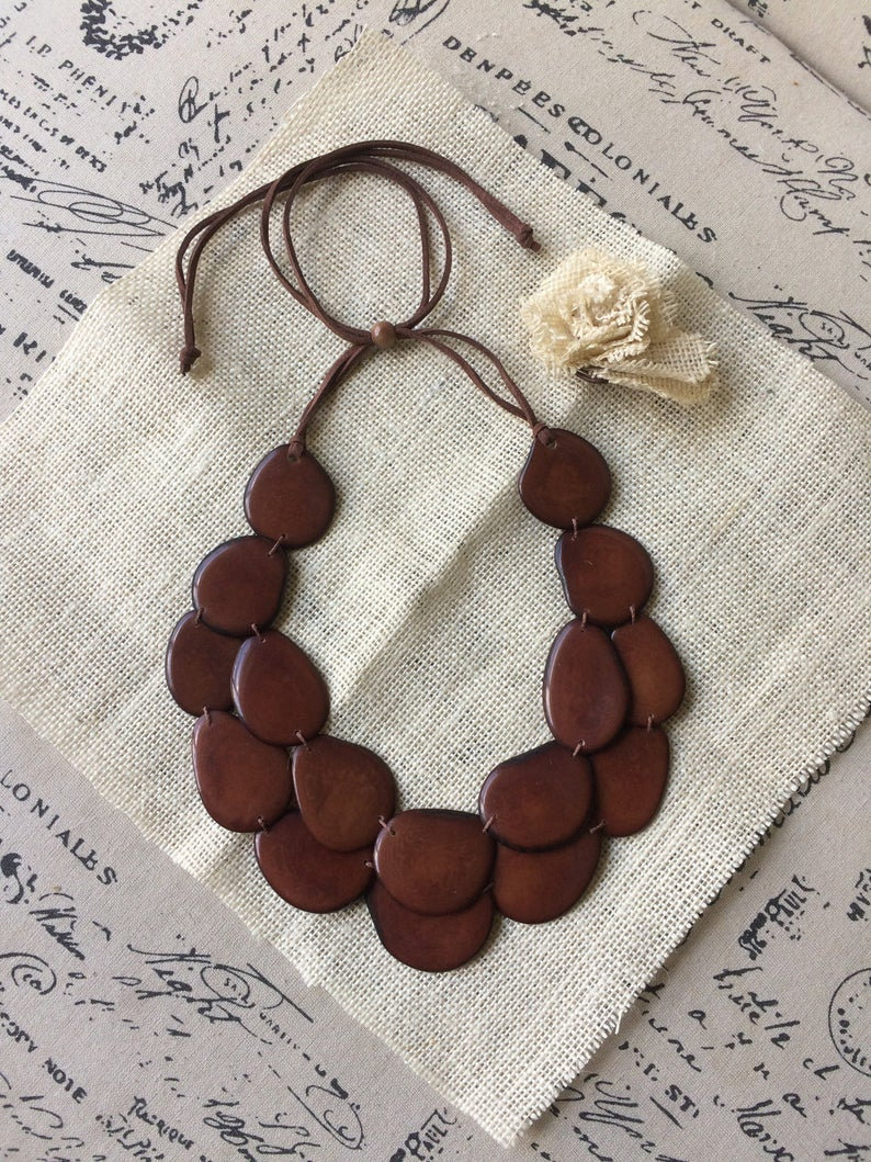 Brown Double Layer Tagua Nut Necklace