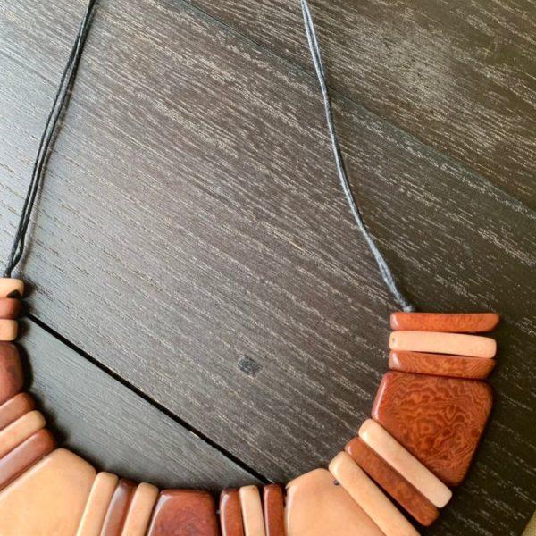 Brown Geometric Tagua Nut Necklace