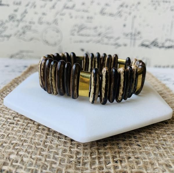 Brown Tagua Bracelet with Golden Accents