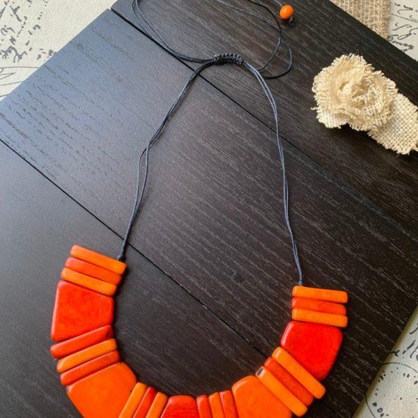 Burnt Orange Beaded Tagua Nut Necklace