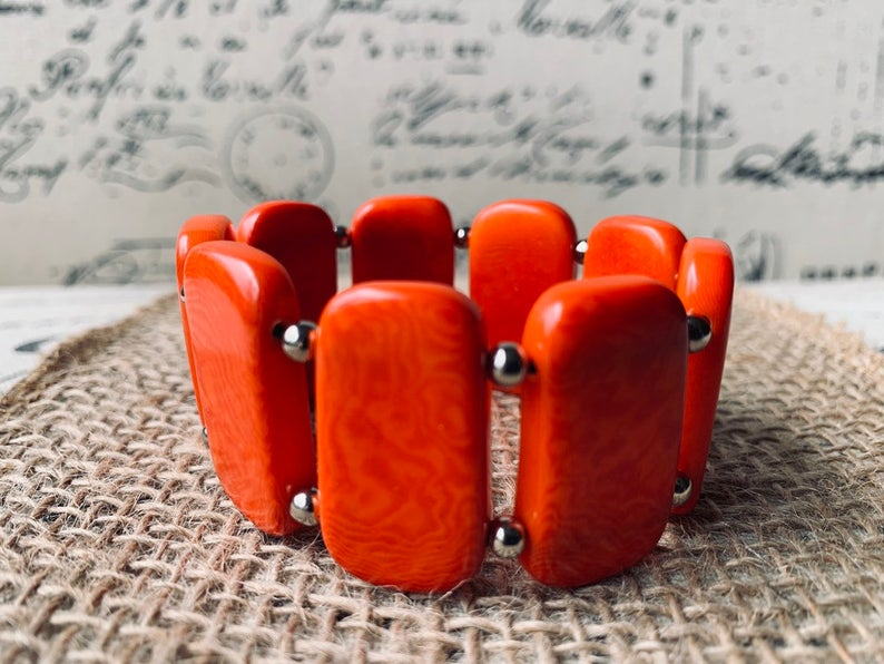 Burnt Orange Beaded Bracelet Made of Tagua Nuts