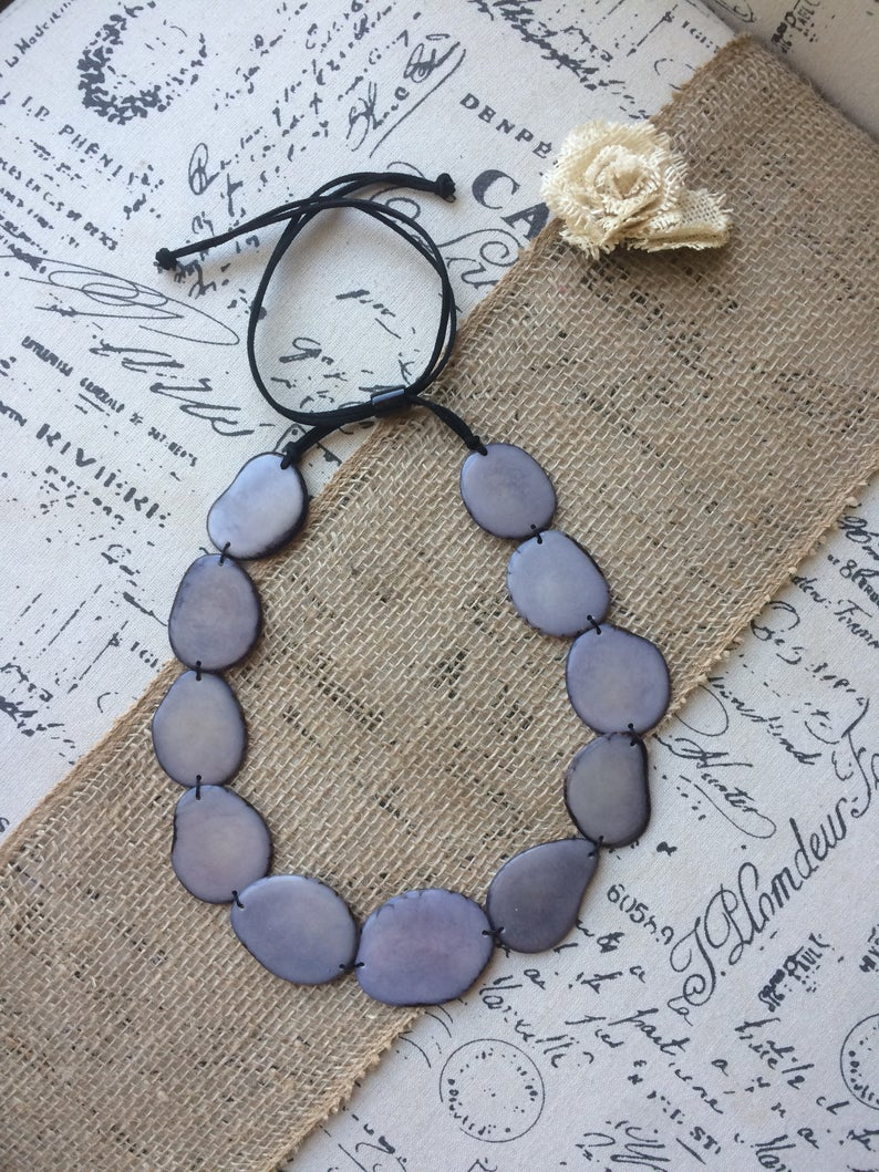 Gray Single Layer Tagua Nut Necklace