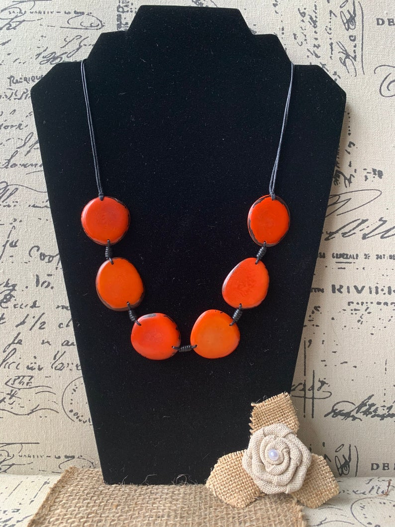 Orange Plain Adjustable Tagua Nut Necklace