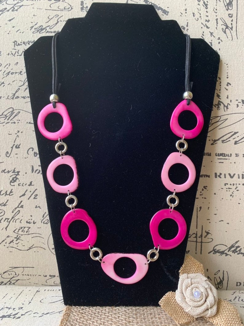 Pink Extra Long Tagua Necklace