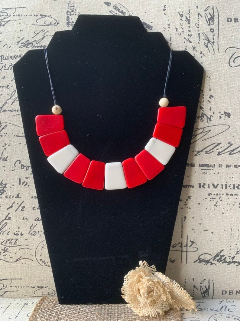 Red and White Bib Tagua Nut Necklace