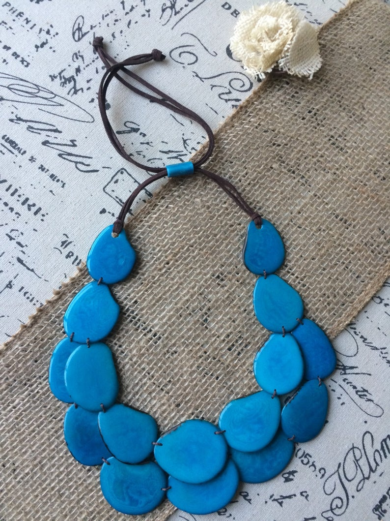 Teal Blue Double Layer Tagua Nut Necklace