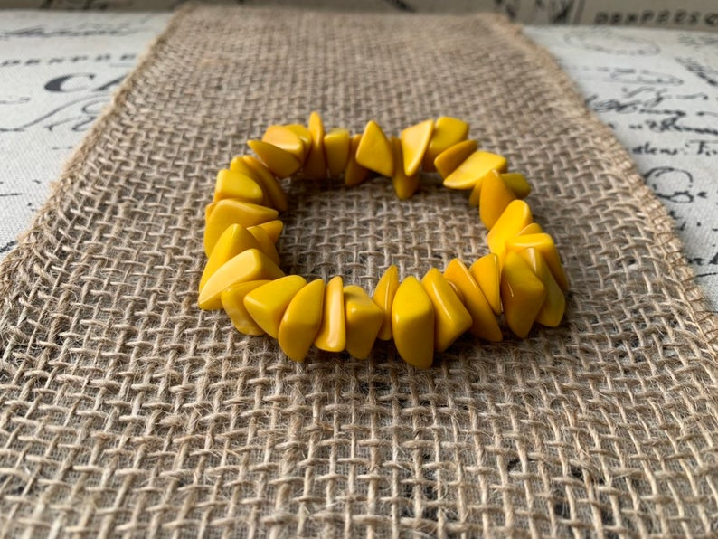 Yellow Beaded Tagua Nut Bracelet