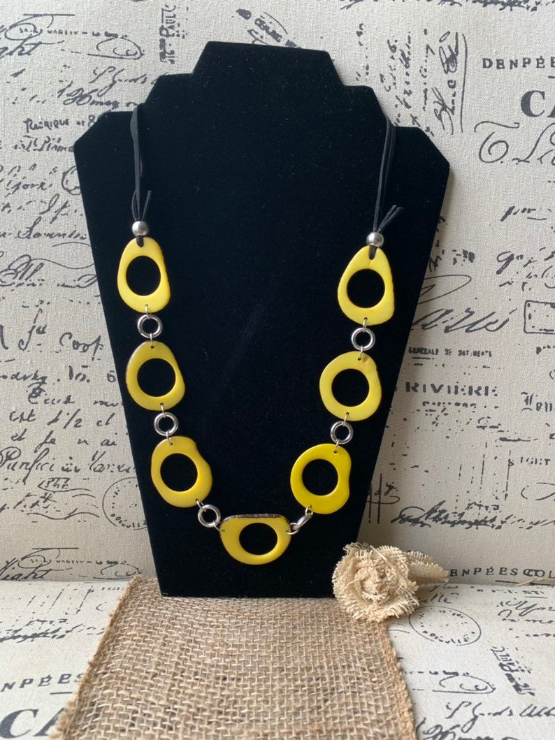 Yellow Donut Shape Tagua Nut Necklace