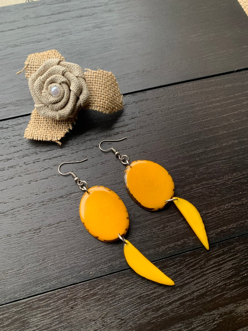 Yellow Dangle Tagua Nut Earrings
