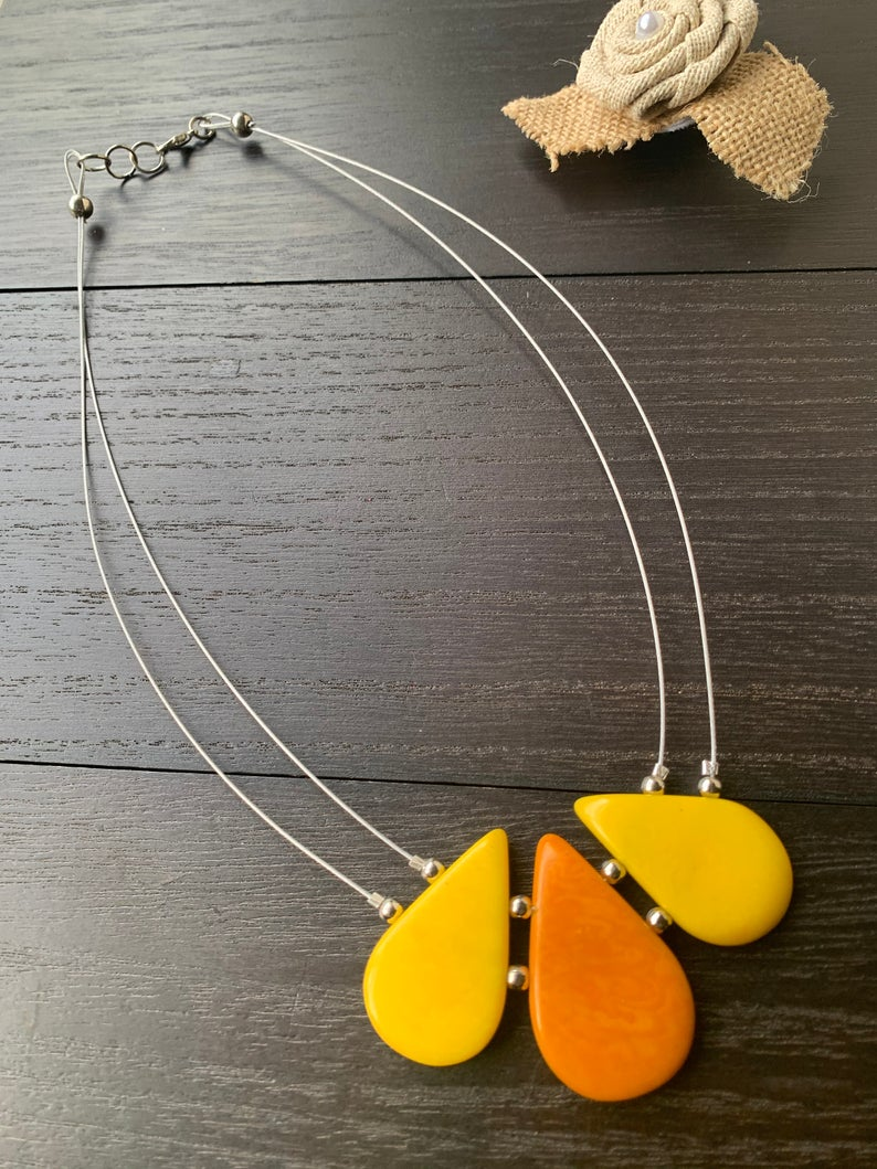 Yellow Teardrop Tagua Necklace with Memory Wire