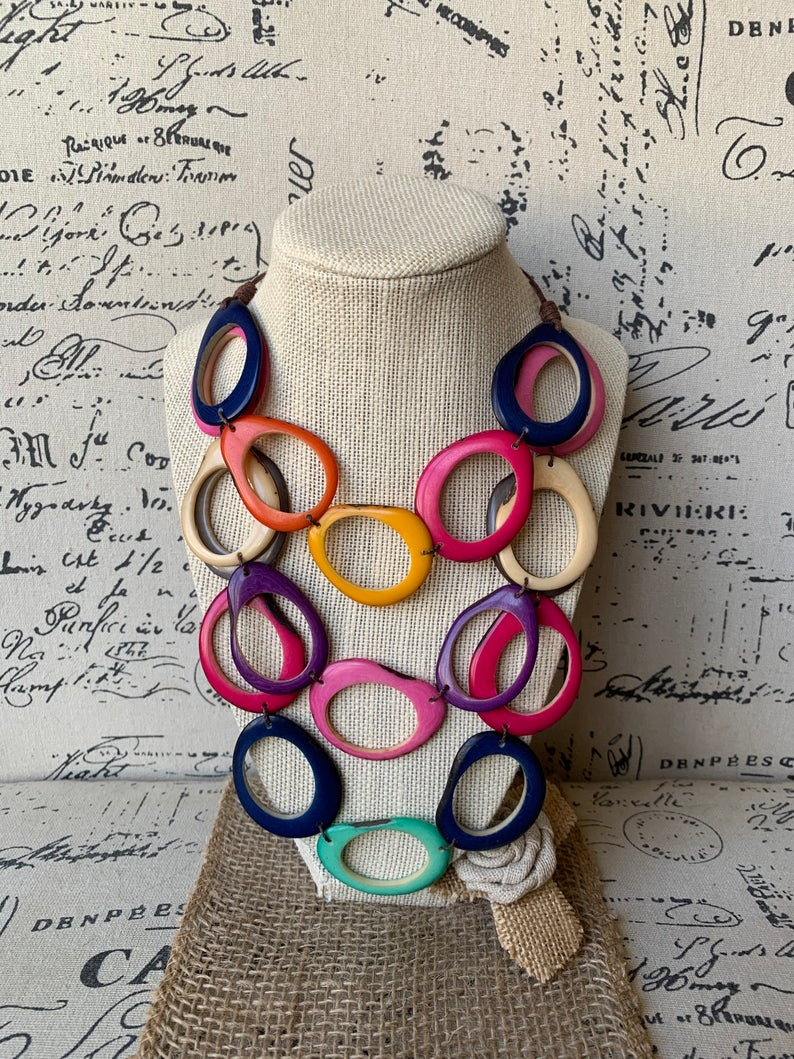 Rainbow Layered Tagua Nut Necklace