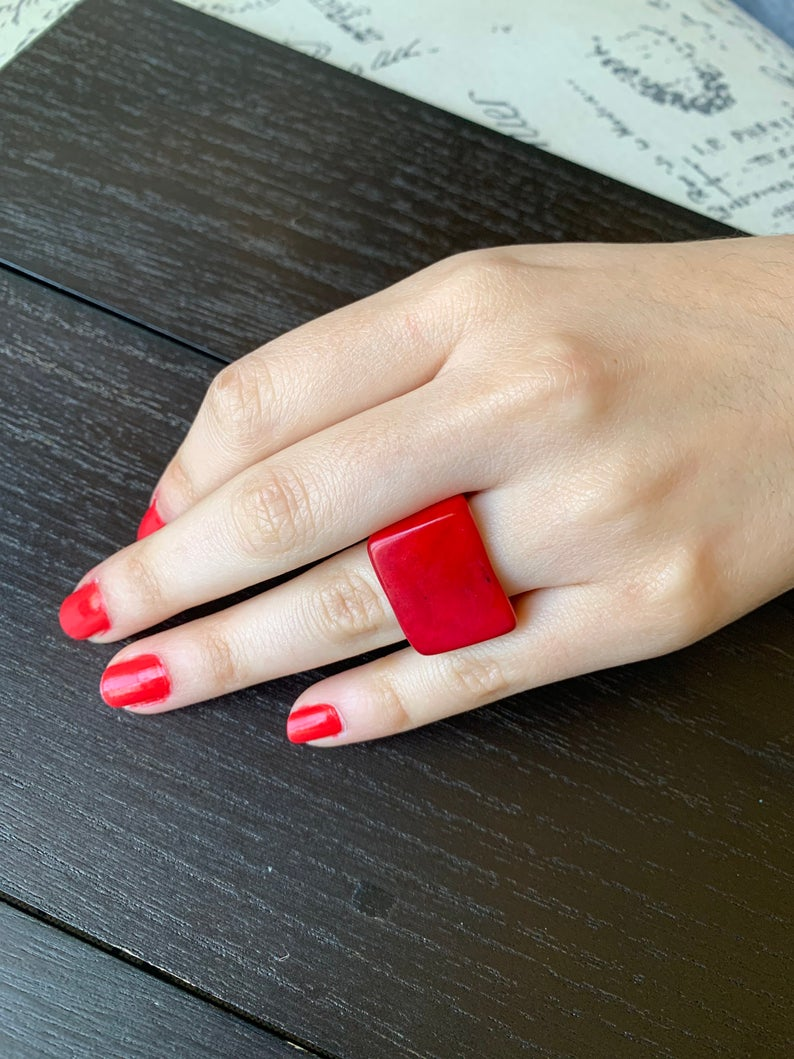 Red Tagua Nut Ring for Women