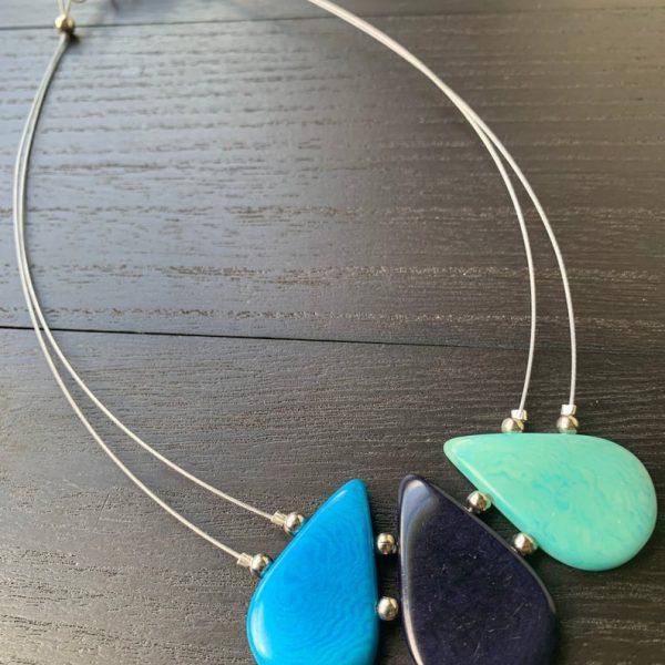 Turquoise Blue Teardrop Tagua Necklace m