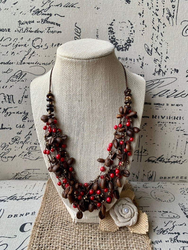 Coffee beans Necklace with Red Accent Beads