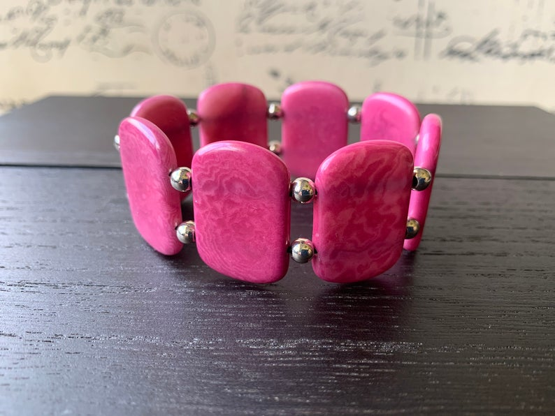 Hot Pink Square Beads Tagua Nut Bracelet