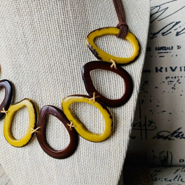 Yellow and Brown Tagua Nut Necklace