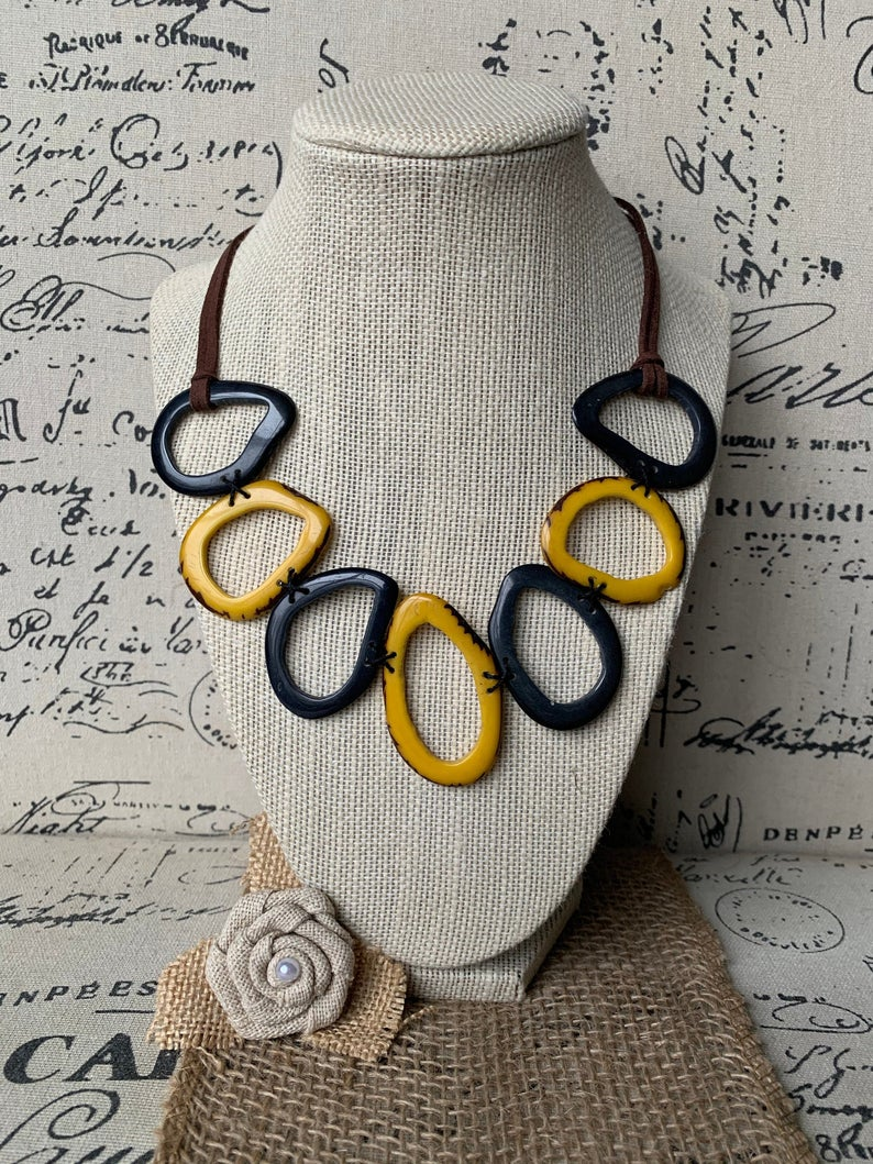 Yellow and Gray Tagua Nut Necklace
