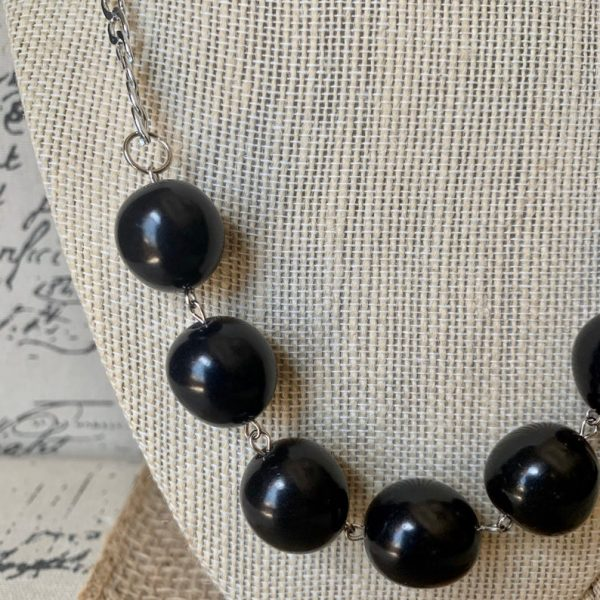 Black Bubblegum Beads Tagua Nut Necklace
