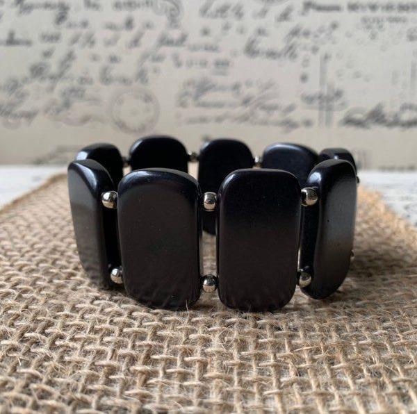 Black Geometric Tagua Nut Bracelet