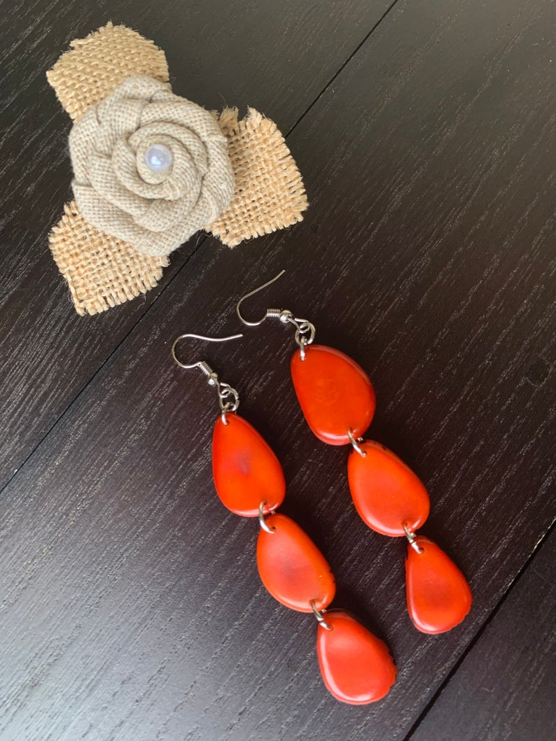 Orange Extra Long Tagua Nut Earrings