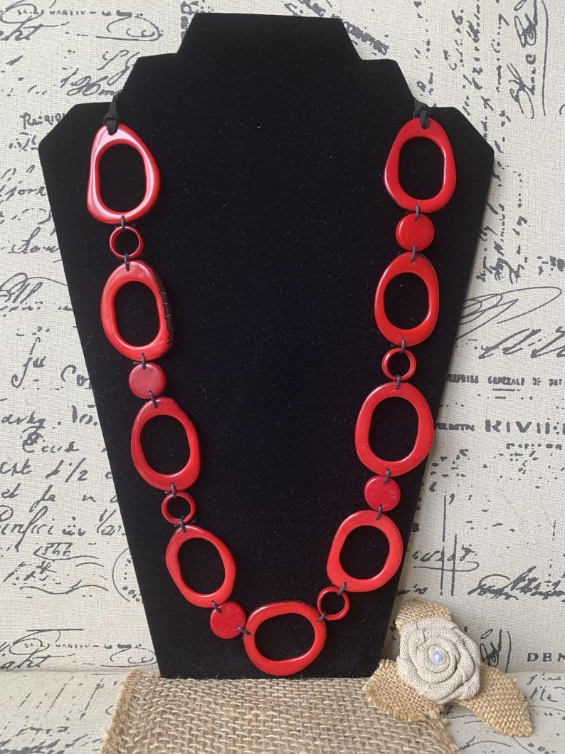 Red Extra Long Tagua Nut Necklace