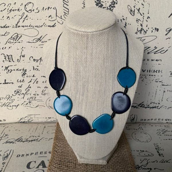 Turquoise Blue Tagua Nut Simple Necklace