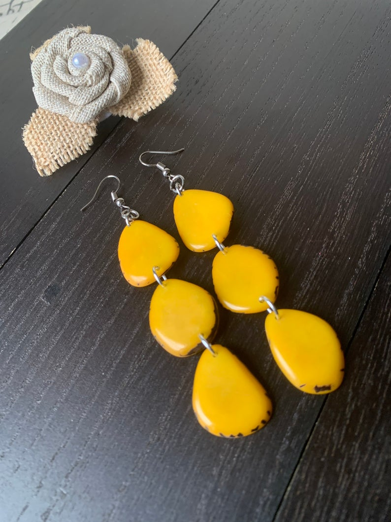 Yellow Extra Long Tagua Earrings