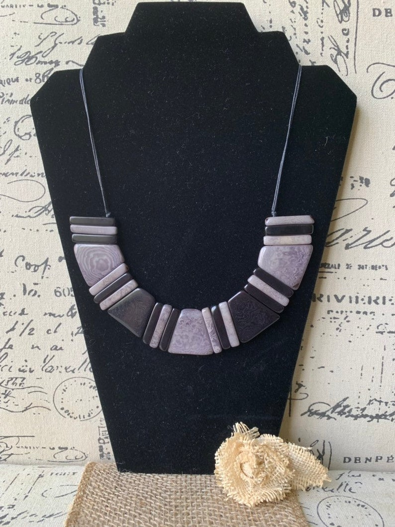 Black and Gray Geometric Tagua Nut Necklace