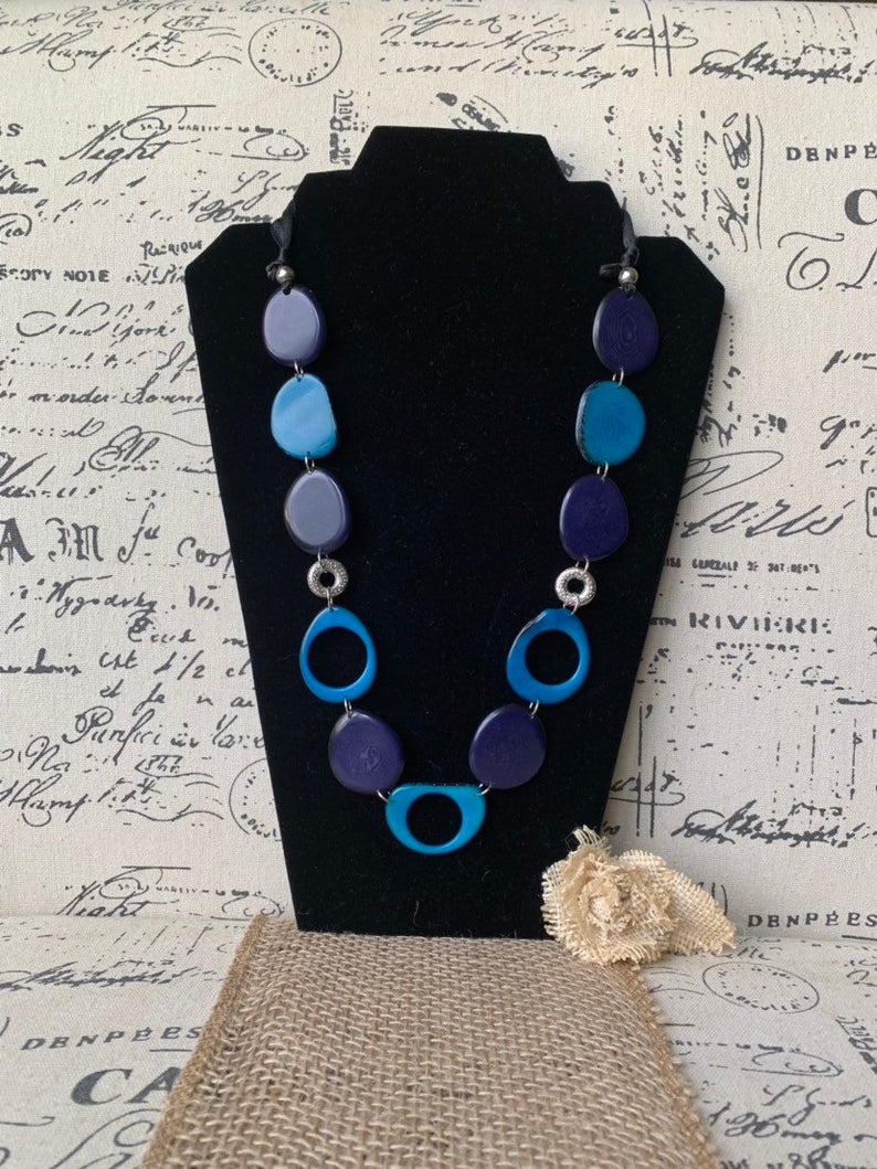 Blue Extra Long Tagua Nut Necklace