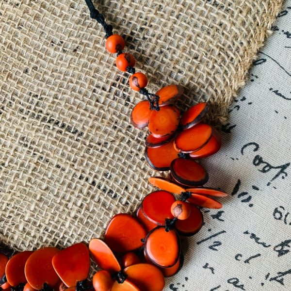Burnt Orange Floral Tagua Nut Necklace