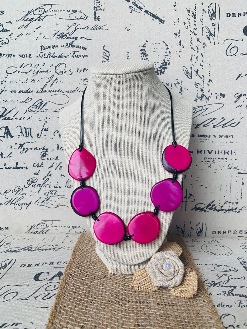 Hot Pink Simple Tagua Nut Necklace