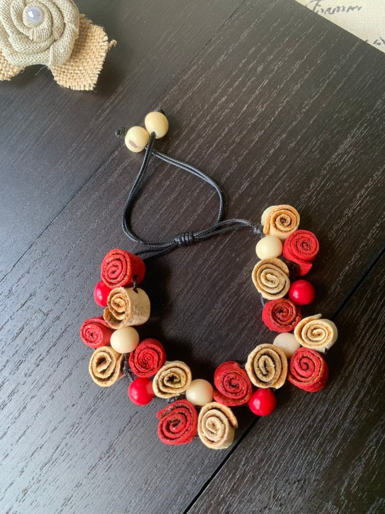 Red and White Handmade Roses Bracelet