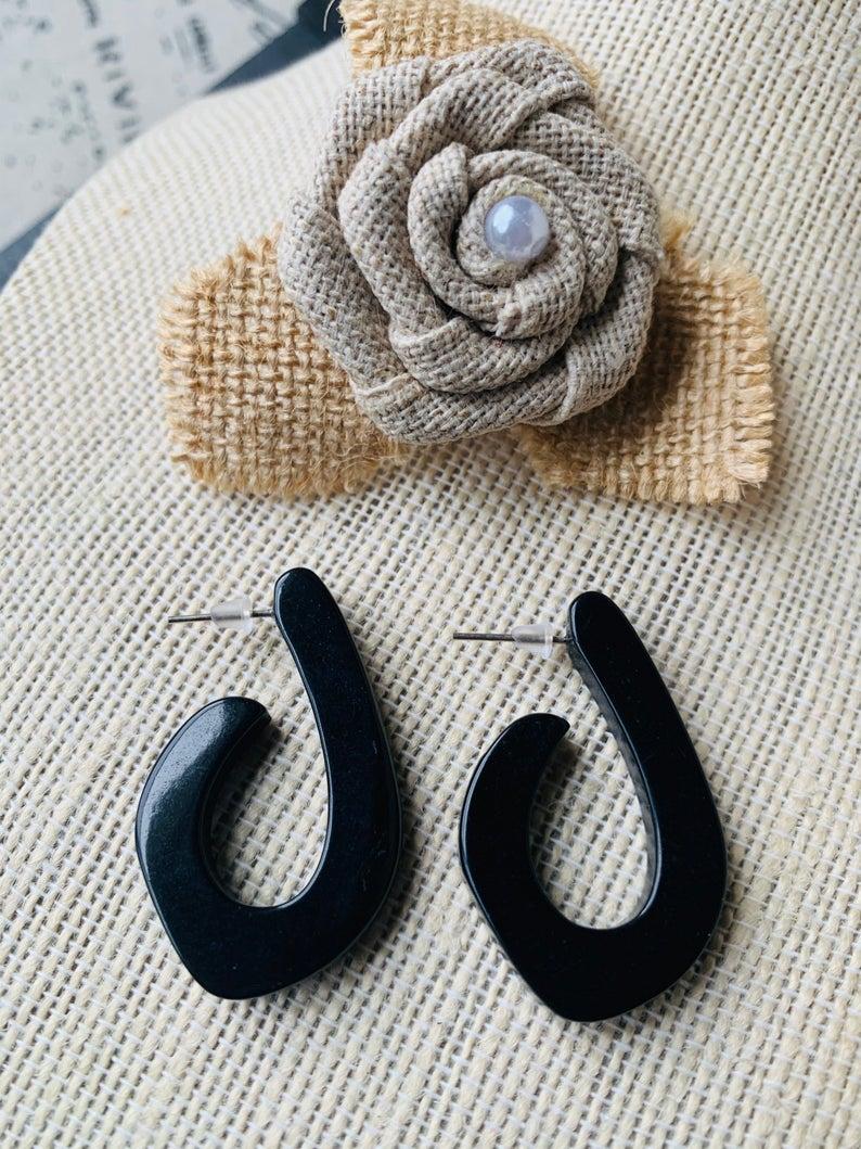 Black Hoop Tagua Nut Earrings