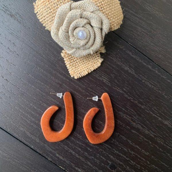 Brown Hoop Earrings Made of Tagua Nut