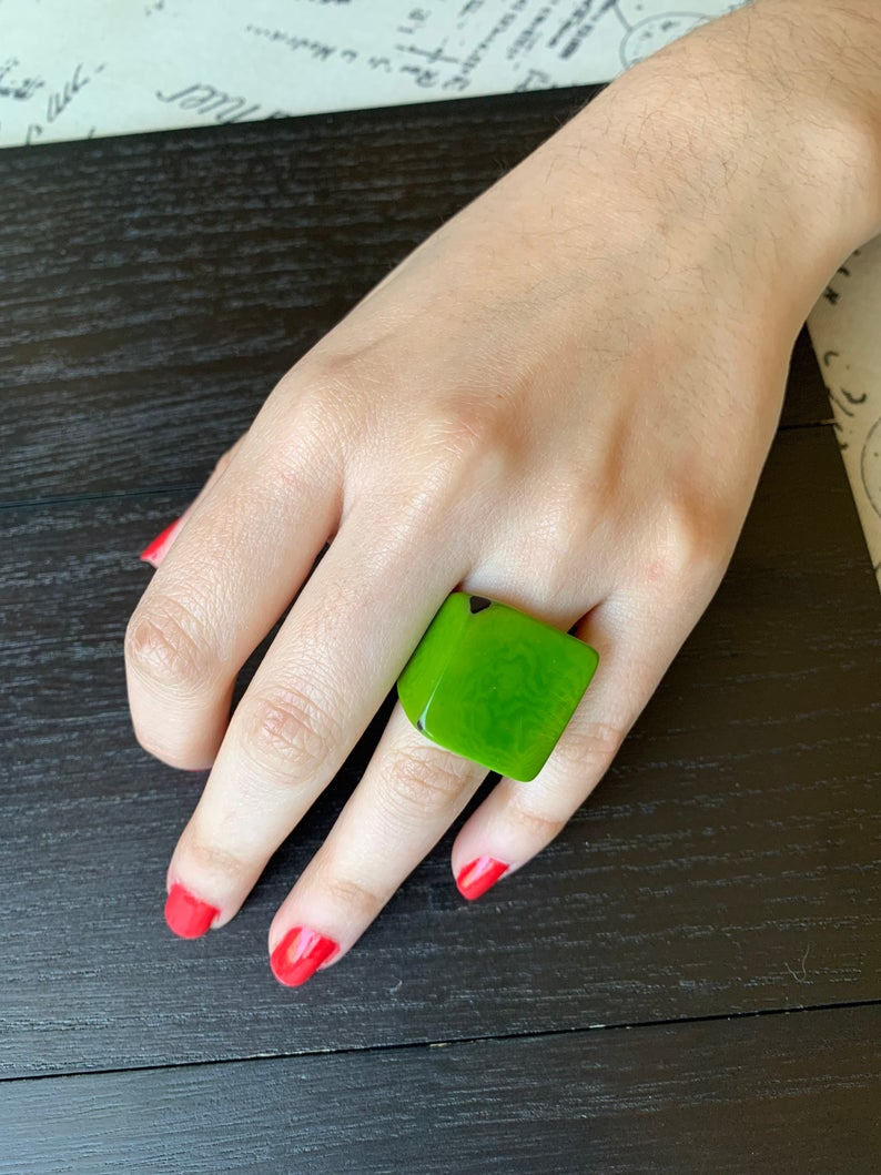 Green Cocktail Tagua Nut Rings