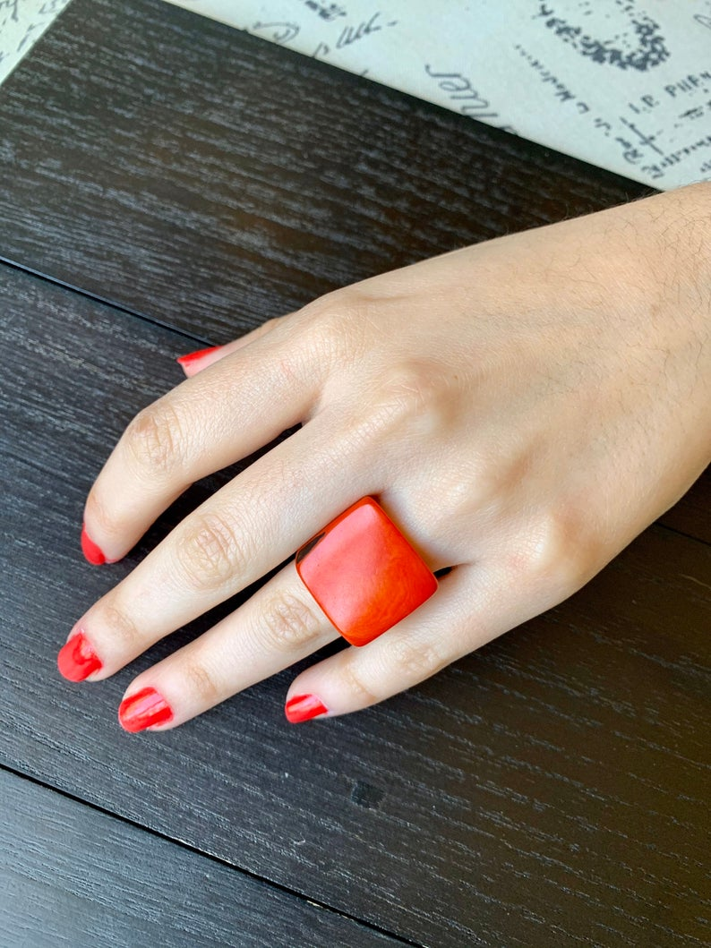 Burnt Orange Tagua Nut Cocktail Ring