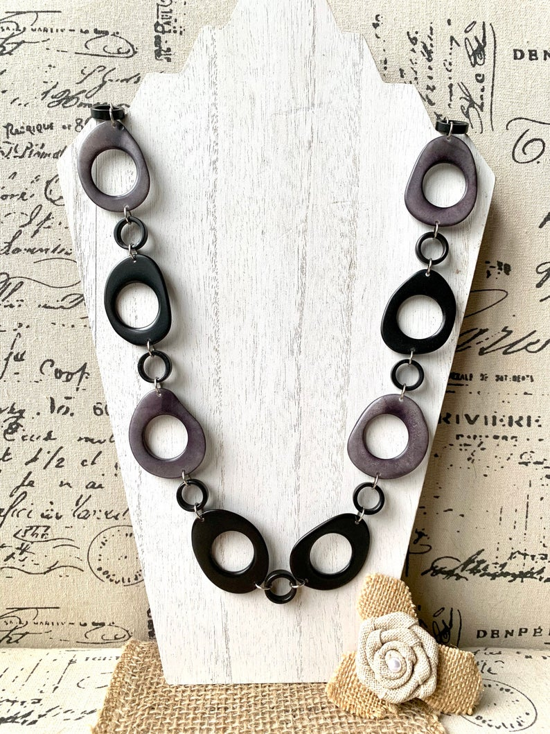 Black and Gray Extra Long Tagua Nut Necklace