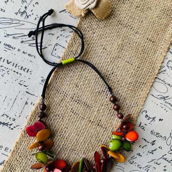 Brown Orange and Green Floral Tagua Necklace